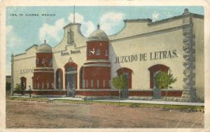 Juarez Mexico~Jail~Juzgado de Letras~Front Door Guards~Sidewalk~1920s Postcard