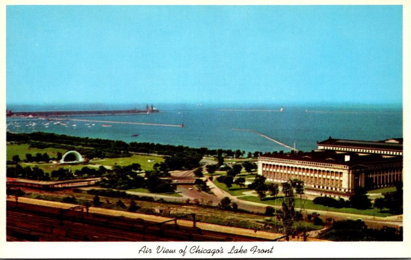 Illinois Chicago Aerial View Of Lakefront