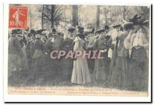 Chantilly Postcard Old Foret hunting hounds The Duchess and the Duke of Cahrt...