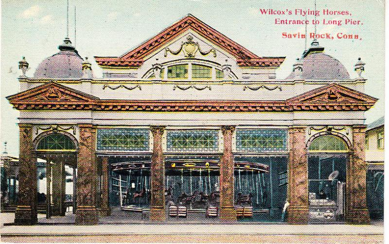 Wilcox's Flying Horses, Entrance to Long Pier.  Savin Rock