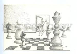 141652 CHESS Artist Loek BOSMAN Old postcard