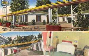 Bungalow Motel of Hollywood, CA Roadside c1950s Vintage Chrome Postcard