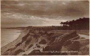 Postcard REAL PHOTO Sepia Vintage BOURNEMOUTH The West Cliffs at Sunset