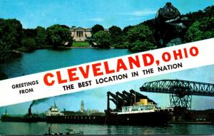 Ohio Cleveland Greetings Showing Art Museum and Ore Docks On The Lakefront