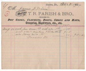 1884 Billhead, T. R. PARISH & BRO., Dry Goods, Clothing, Hardware, Clayton, AL