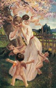 Lady With Tiny Angels A. Unterberger pinx Liebesgeflüster 04.39