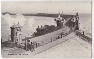 Dover; Admiralty Pier PPC, 1907 Dover PMK, Shows Paddlesteamer & Locomotive