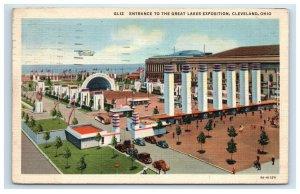 Great Lakes Exposition Blimp Air Ship Cleveland Ohio Postcard Linen