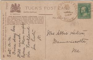 MOUNT DESERT FERRY Maine - POSTAL CANCEL  - 1912 / Malvern Hotel