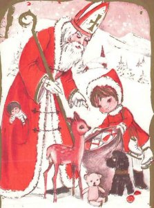 Santa Claus Deer And Girl Look At Sack Of Toys VTG P83