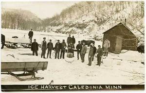Caledonia MN Ice Harvest Sled Equipment RPPC Real Photo Postcard