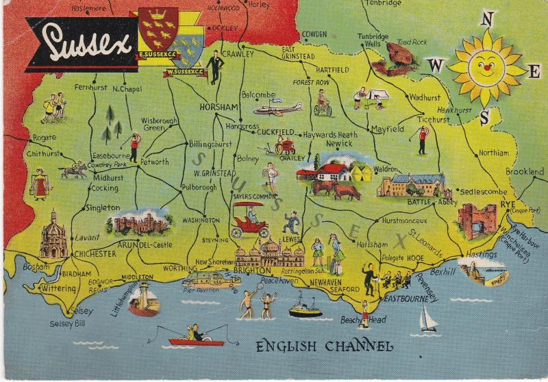 Post Card  illustrated map Sussex Dennis Productions Newcolour