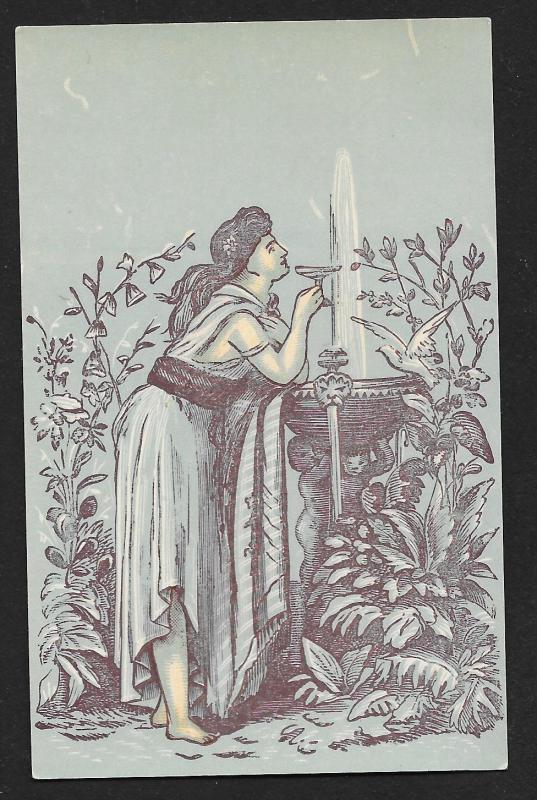 VICTORIAN TRADE CARDS (4 diff) Stock Cards Blue Tint Adults Ancient Times Views