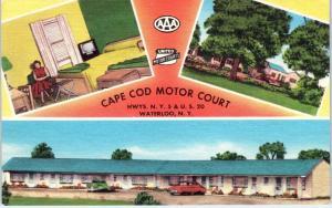 WATERLOO, NY New York  CAPE COD MOTOR CT  Roadside  c1940s Cars Linen   Postcard