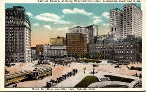 Michigan Detroit Cadillac Square Showing Ponchartrain Hotel Hammond Ford & Di...