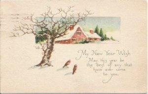 Vintage Postcard, Birds in Meadow Beautiful Winter Scene New Years Wish New Year