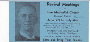 SPRING ARBOR, Michigan, 1900-1910s; Revival Meetings At The Methodist Church