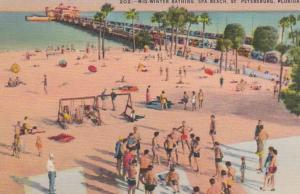 Florida St Petersburg Spa Beach & Recreation Pier Mid Winter Bathing 1944