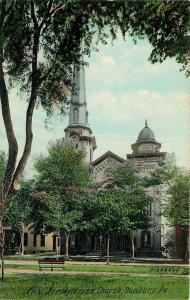 Sunbury Pennsylvania~First Presbyterian Church~Top Steeple~Tree Coverage~1910 PC