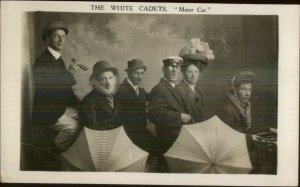 Vaudeville Silly Comedy Group? Pretend Car THE WHITE CADETS Motor Car RPPC
