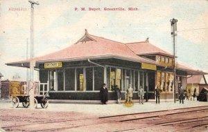 Greenville Michigan Train Station PM Depot Vintage Postcard AA20120