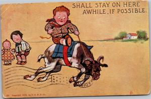 Boy Riding Goat, Stall Stay On Here A While If Possible UDB Vintage Postcard M07