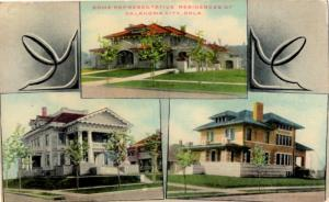 Oklahoma City, Oklahoma - 3 beautiful residences in 1909 - Vintage Postcard