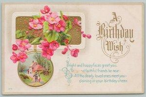 Flowers Greetings~Pink Primroses~Gold Border~c1910 Embossed Postcard