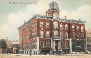 THE ILLINOIS HOTEL Galesburg, IL ca 1910s Vintage Postcard Antique