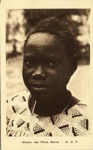 French West Africa, Native Girl Facial Scarification (1920s) Mission Postcard II