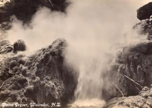 Prince of Wales Feather Geyser Wairakei New Zealand RPC Postcard