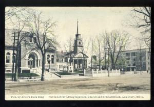 Amesbury, Massachusetts/MA/Mass Postcard, Public Library, Kimball Block