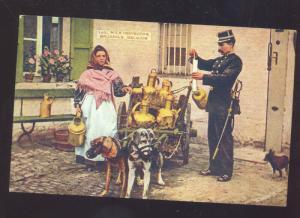 BRUSSELS BELGIUM DOG DRAWN WAGON DAIRY MILK INSPECTION VINTAGE POSTCARD