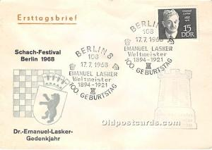 Old Vintage Chess / Checkers Postcard Post Card Berlin, Dr Emanuel Lasker Ged...