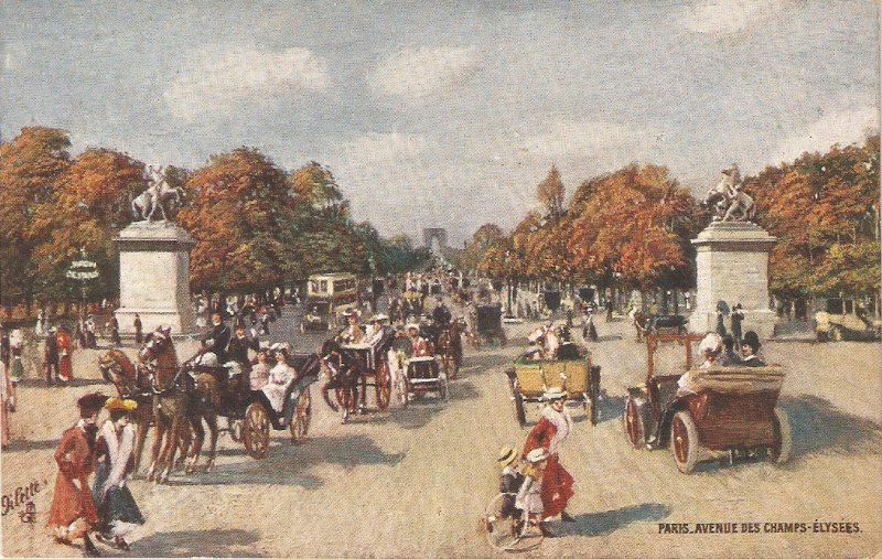 Paris. Avenue des Champs Elysees. Horse Cars Tuck Oilette France PC  # 76