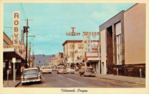 TILLAMOOK OREGON BUSINESS DISTRICT-CAFE-STOREFRONTS 1950s POSTCARD