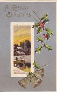 Christmas Landscape Scene and Holly 1908