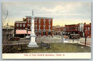 Toledo Iowa~Trolley at High Street & Broadway~Civil War Soldiers Monument~c1910