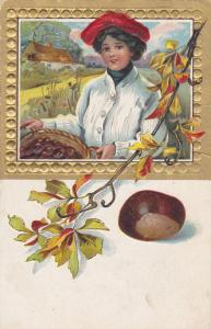 Woman, red beret, basket of hazelnuts, Autumn Scene, Gold Border, 00-10s
