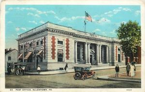 Allentown Pennsylvania~Folks Stroll Past Post Ofice~Vintage Cars~1920s