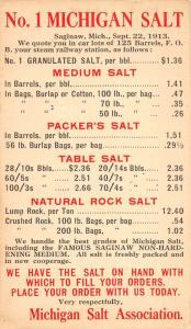 Saginaw Michigan pricing list/guide Michigan Salt Assoc antique pc ZA440527