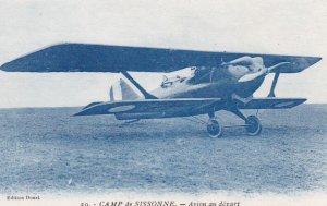 War 1914-18 : Camp de SISSONNE.-Avion au depart , Bi-plane Aeroplane