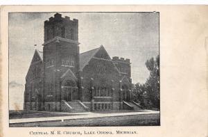 Michigan Mi Postcard 1908 LAKE ODESSA Central ME Church Building