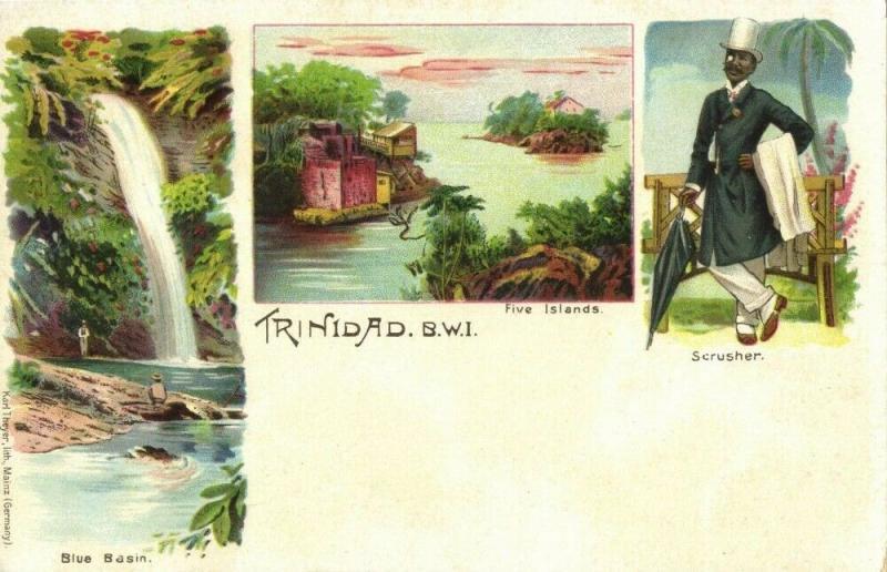 Trinidad B.W.I., Blue Basin Five Islands Scrusher 1899 Litho Multiview Postcard