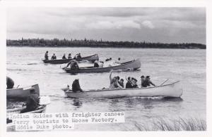 RP: Indian guides w/ freighter canoes , MOOSE FACTORY , Ontario, Canada , 30-40s