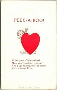 1910s VALENTINE'S DAY Postcard PEEK-A-BOO! Cupid / Heart Helen McCarthy UNUSED