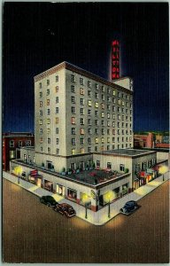 1940s Albuquerque, New Mexico Postcard HOTEL HILTON Street View / Night - Linen