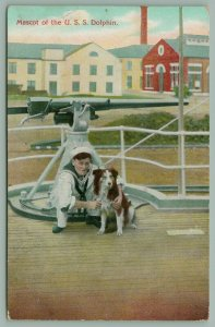 USS Dolphin Gunboat & Dispatch~Sailor with Mascot by Deck Gun~Collie Dog~1907