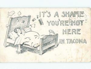 Pre-1907 SHAME YOU'RE NOT IN TACOMA - COMIC POSTCARD Tacoma Washington WA F0137