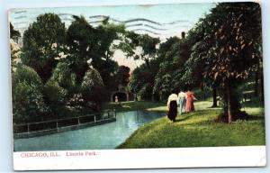 *1908 Chicago Illinois Lincoln Park Viaduct Women Vintage Postcard C14